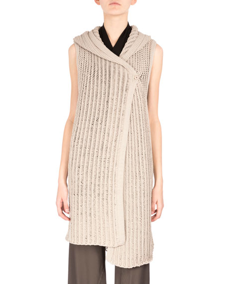 Rick Owens Hooded One-Button Sweater Vest, Pearl