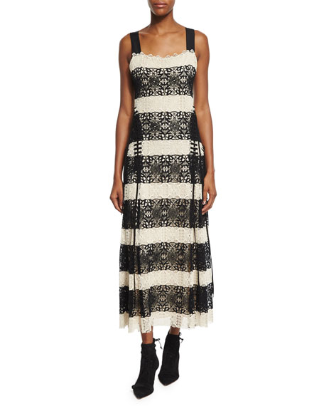 Derek Lam Striped Medallion-Lace Tank Dress, Black/Natural