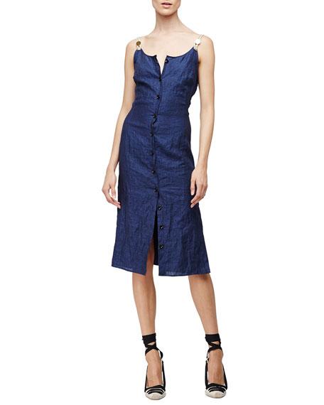 Altuzarra Sleeveless Button-Front Patio Dress, Navy