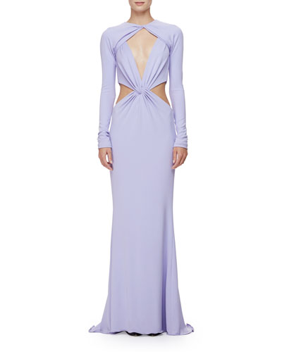 Long-Sleeve Twisted-Knot Column Gown, Lavender