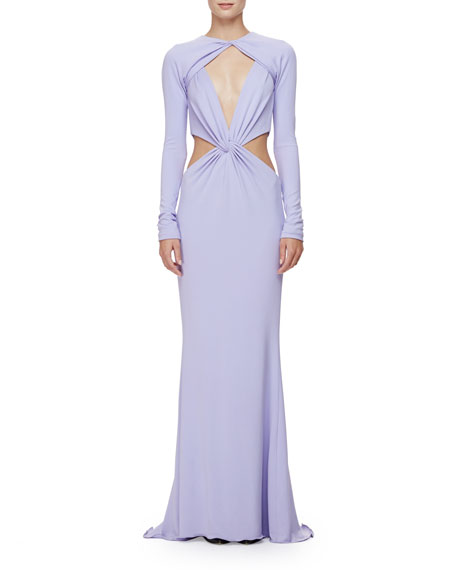 Cushnie et OchsLong-Sleeve Twisted-Knot Column Gown, Lavender