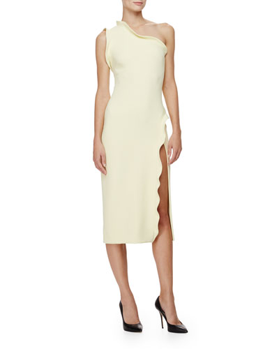 Cushnie et Ochs One-Shoulder Ruffle-Trim Sheath Dress, Lemon