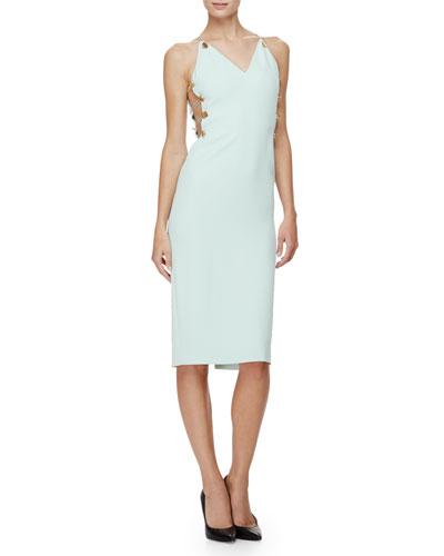 Sleeveless Button-Side Sheath Dress, Mint