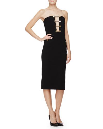 Strapless Button-Front Sheath Dress, Black
