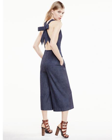 Sleeveless Wide-Leg Cropped Jumpsuit, Indigo