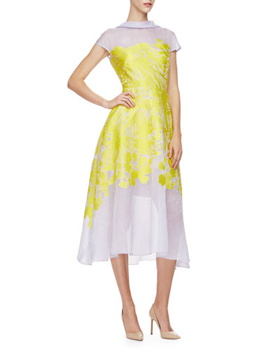 Cap-Sleeve Floral-Print Midi Dress, Citrine/Lilac