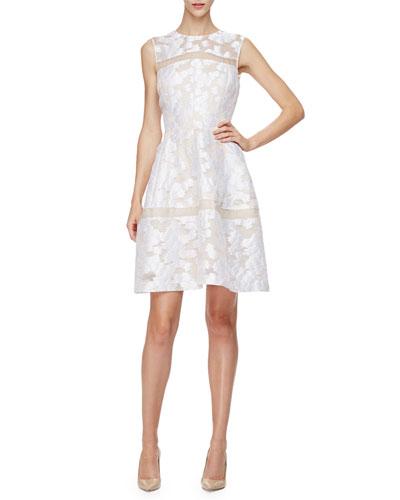 Sleeveless Sheer-Inset Mini Dress, Ivory
