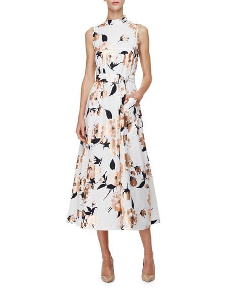 Lela Rose Sleeveless Metallic Floral-Print Dress, Copper