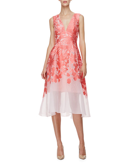 Lela Rose Sleeveless Palm-Print Overlay Dress, Red/Pink