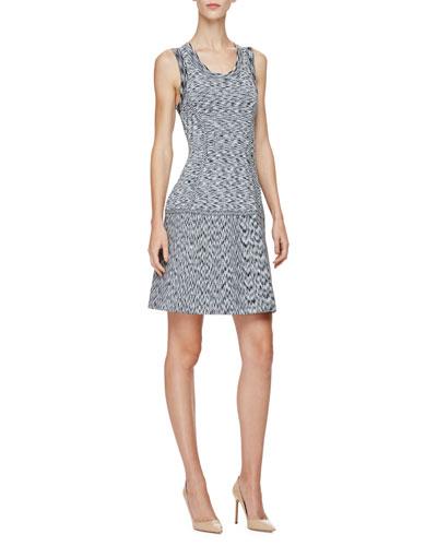 Scoop-Neck Tank Mini Dress, Black/Ivory