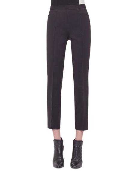 Akris punto Franca Mid-Rise Cropped Pants, Black