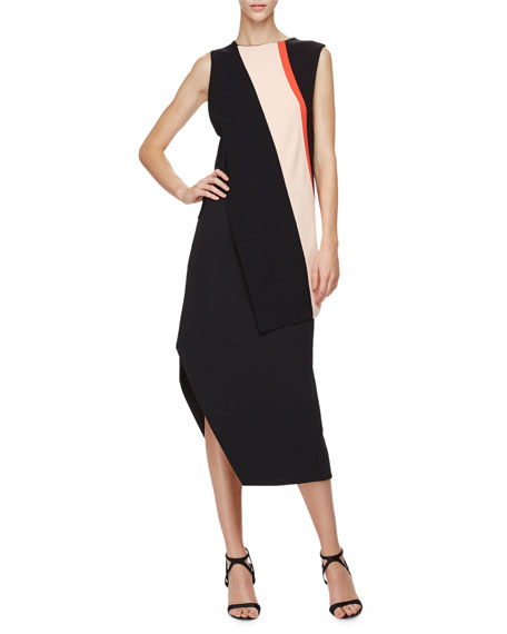 Narciso Rodriguez Sleeveless Angled-Stripe Top, Black/White/Pink
