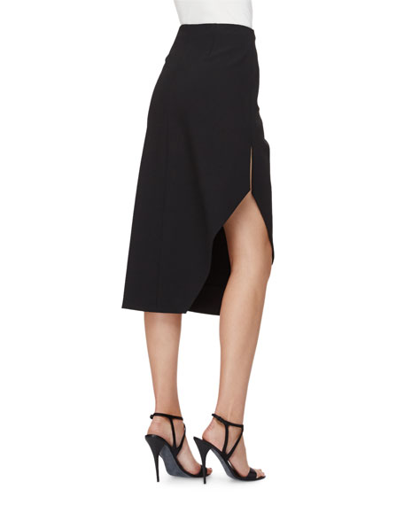 High-Waist Asymmetric Skirt, Black