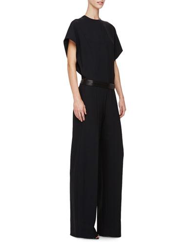 Short-Sleeve Belted Jumpsuit, Black