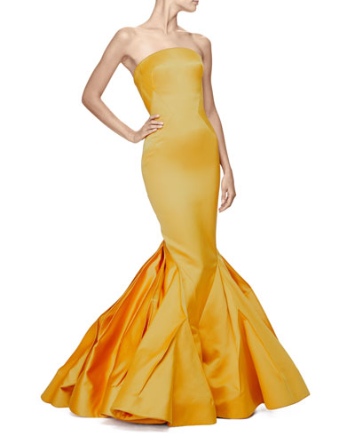 Strapless Fitted Gown W/Trumpet Skirt, Marigold
