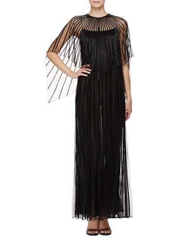 Capelet-Sleeve Illusion Gown, Black