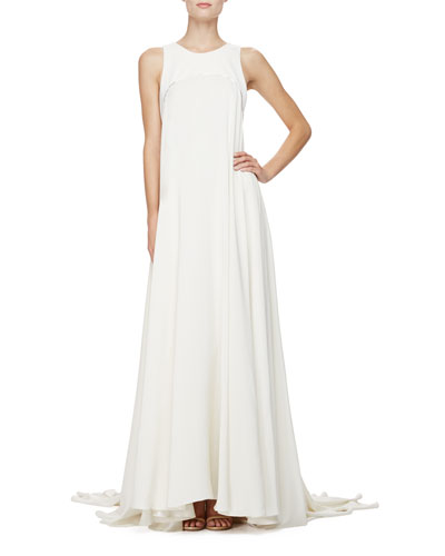 Sleeveless Silk Trapeze Gown, Porcelain