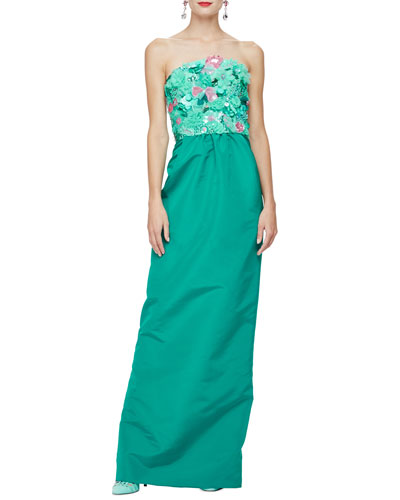 Strapless Floral-Embroidered Silk Gown, Seafoam/Teal