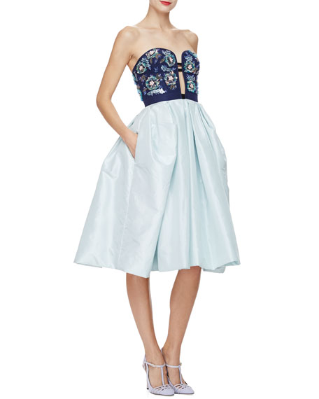Oscar de la Renta Strapless Fit-&-Flare Cocktail Dress,