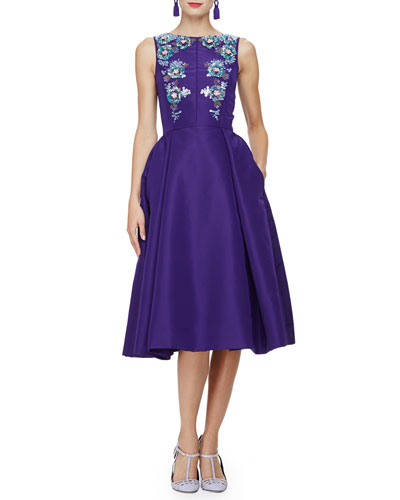 Sleeveless Bateau-Neck Embellished Dress, Violet/Multi
