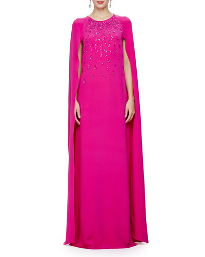 Embellished Caftan Gown W/Cape Back, Magenta