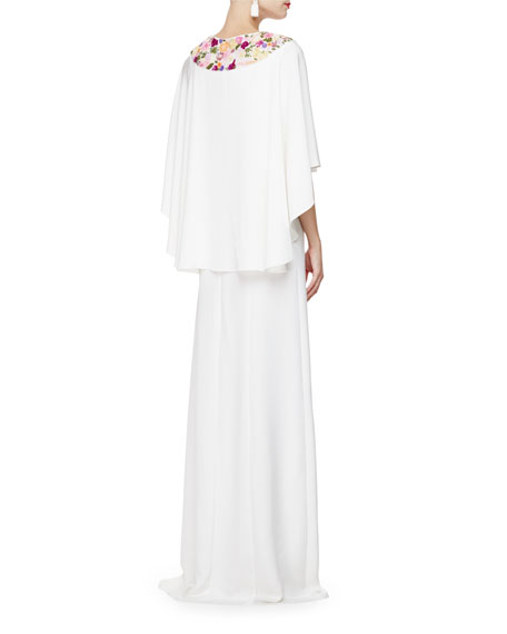 Oscar de la Renta Floral-Embroidered Caftan Gown, Ivory/Multi
