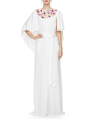 Floral-Embroidered Caftan Gown, Ivory/Multi