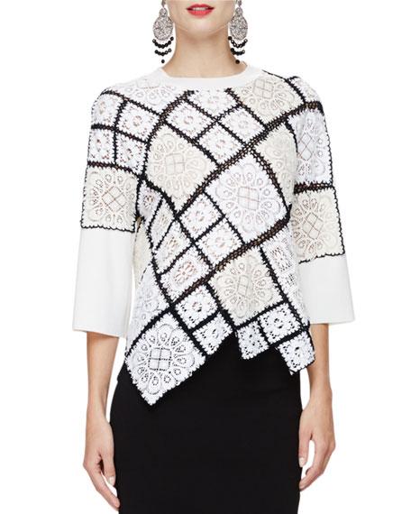 Oscar de la Renta 3/4-Sleeve Crochet-Lace Pullover, Black/Ivory