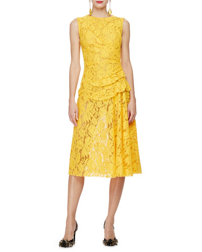 Sleeveless Gathered-Waist Lace Dress, Saffron