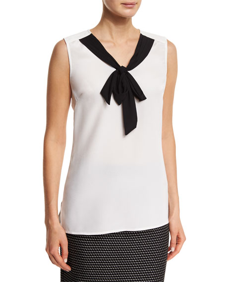 St. John Collection Stretch-Silk Bow Shell, Bianco/Caviar