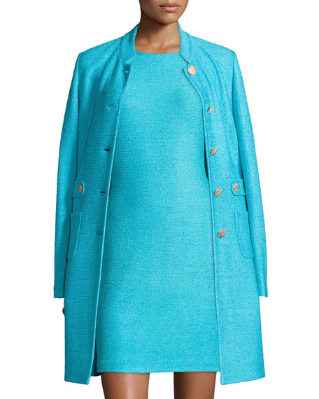 St. John Collection Windy Knit Topper Jacket w/ Waist Tabs, Aqua