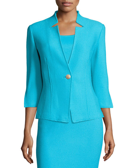 St. John Collection Textural Twill 3/4-Sleeve Jacket, Aqua