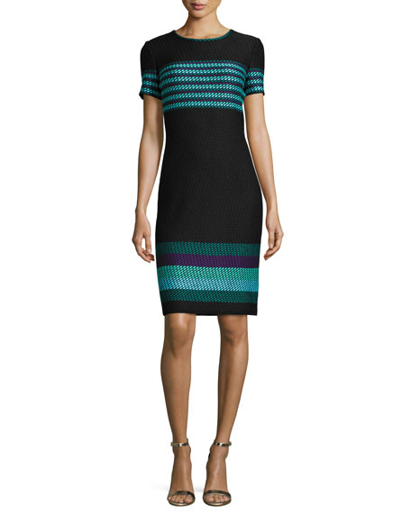 St. John Collection Macro Striped Short-Sleeve Sheath Dress, Caviar/Multi