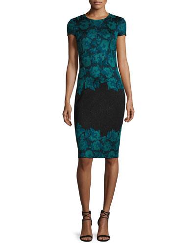 Aegean Floral Jacquard Knit Sheath Dress, Caviar/Seafoam