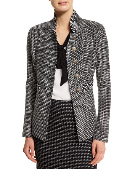 St. John Collection Manto Contrast-Trim Knit Jacket, Caviar/Alabaster