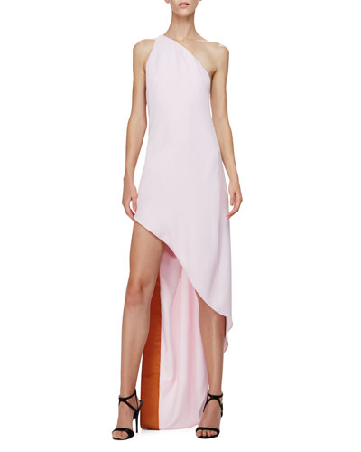 One-Shoulder Dress W/Asymmetric Hem, Shell Pink