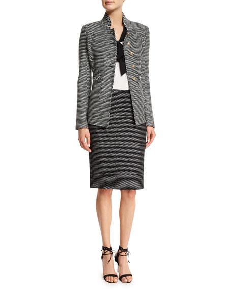 Manto Knit Pencil Skirt, Alabaster/Caviar