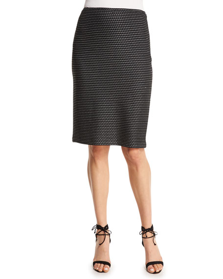 St. John Collection Manto Knit Pencil Skirt, Alabaster/Caviar