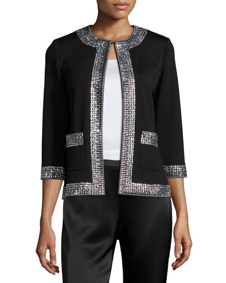 St. John Collection Sequined-Trim 3/4-Sleeve Jacket, Caviar/Crystal