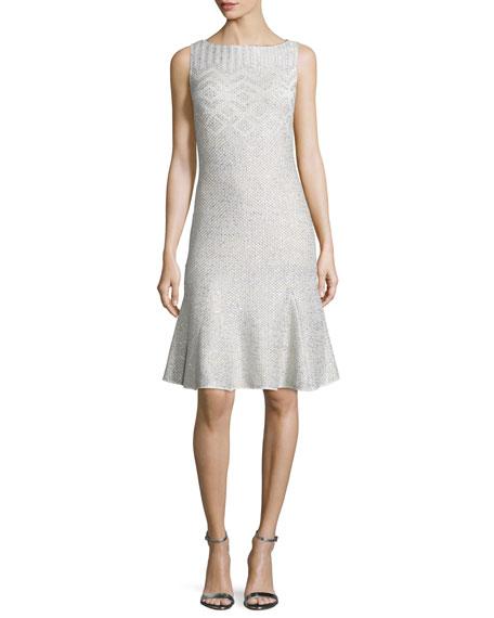 St. John Collection Adara Knit Godet-Hem Dress, Alabaster