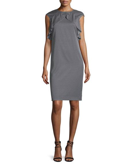 St. John Collection Simple Dot-Print Flounce Dress, Caviar/Bianco