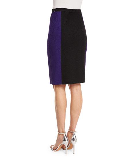 Boucle Knit Colorblock Pencil Skirt, Seafoam/Multi
