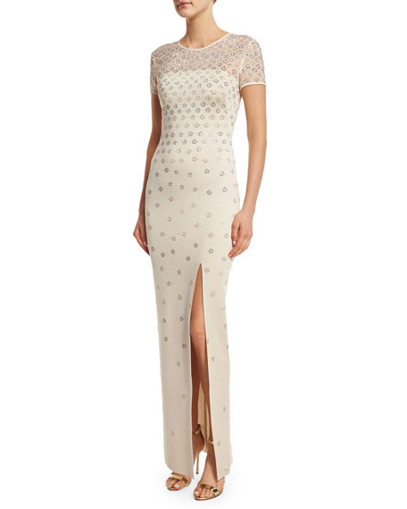 St. John Collection Shimmery Milano Knit Short-Sleeve Gown,