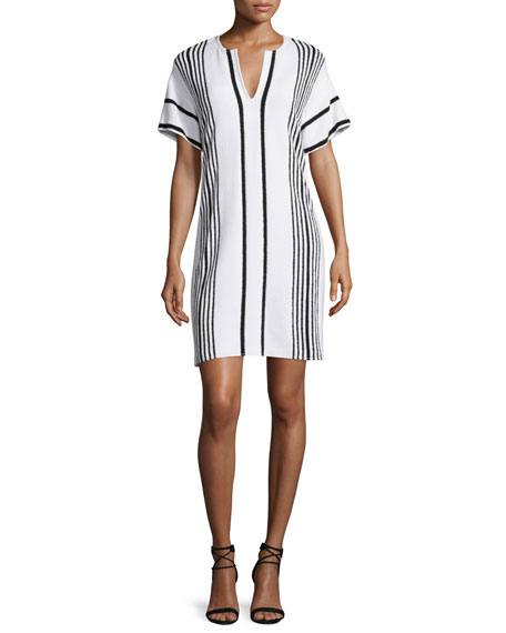 St. John Collection Boucle Striped Short-Sleeve Shift Dress, Bianco/Caviar