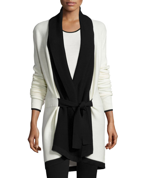 St. John Collection Belted Soft Links Knit Cardigan, Bright Alabaster/Caviar