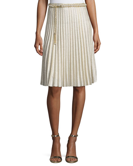 St. John Collection Kiklos Shimmery Fit-and-Flare Skirt,