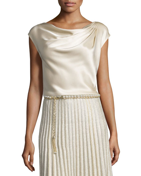 St. John Collection Liquid Satin Cowl-Neck Shell, Champagne