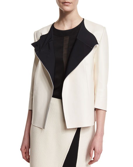 St. John Collection Bonded Leather 3/4-Sleeve Jacket, Alabaster/Caviar