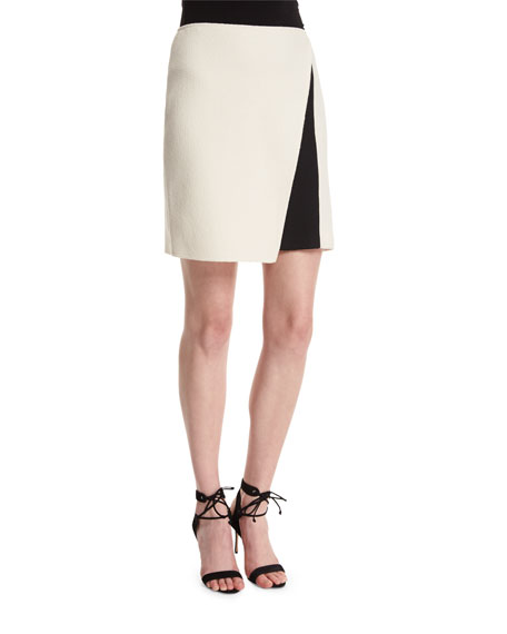 St. John Collection Nouveau Boucle Contrast-Panel Skirt, Alabaster/Caviar