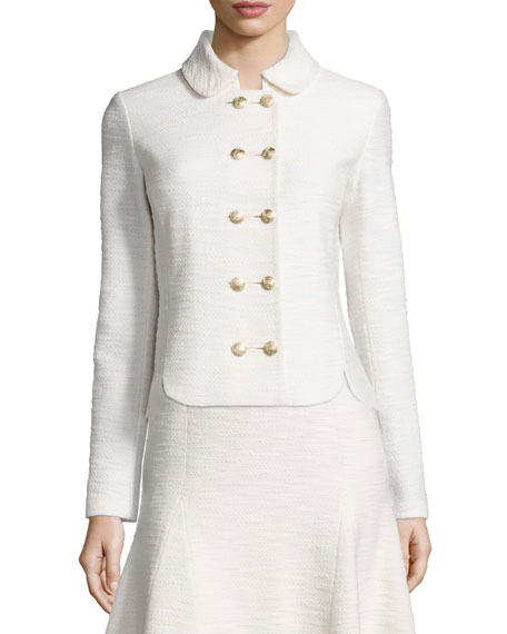 St. John Collection Mili Knit Double-Breasted Jacket, Alabaster